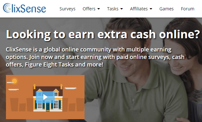 Clixsense, A get paid to site (GPT) that offers surveys and tasks.