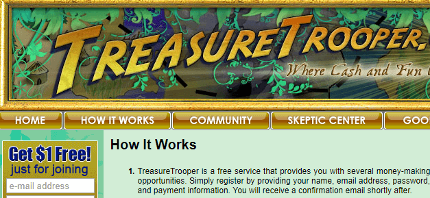 Treasure trooper GPT site, A site offers cashback shopping, surveys, paid videos. and offers.