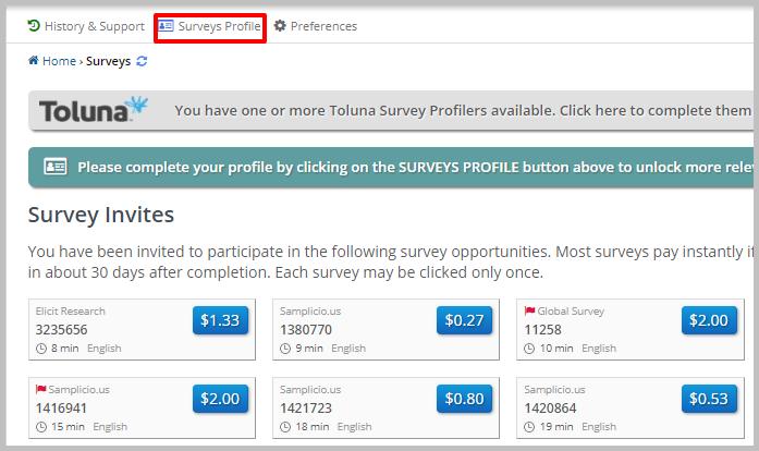 Link to Clixsense survey profile.