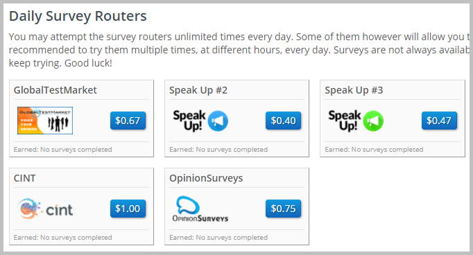 Daily survey routers - Check at a regular intervals