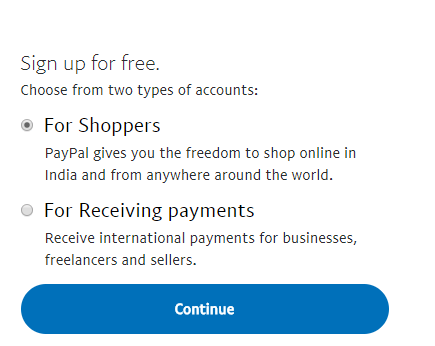 Selecting account type