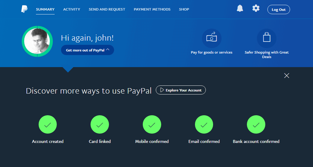 A sample of verified Paypal account