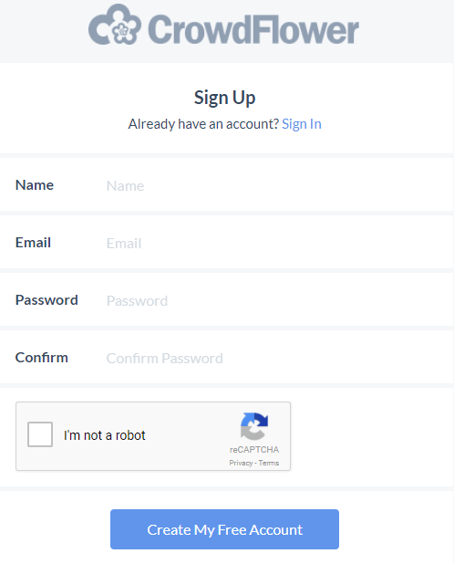 Sign up form Crowdflower