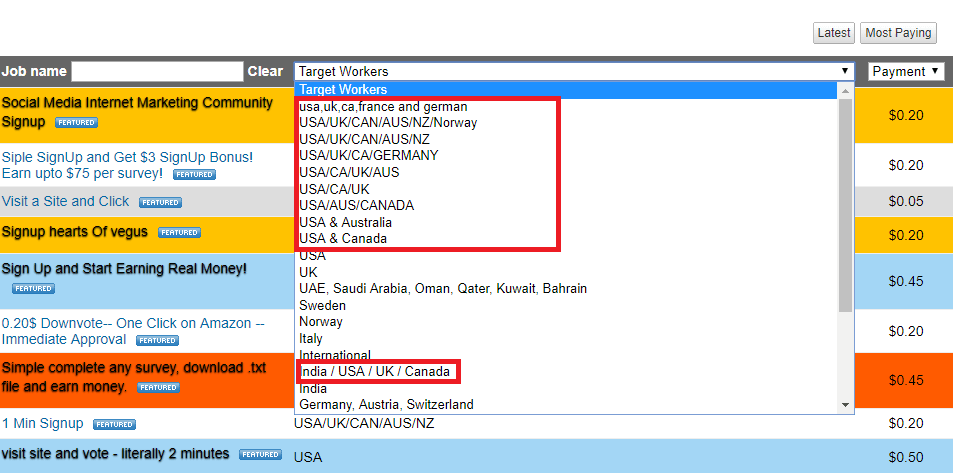 Country based tasks on Rapidworkers